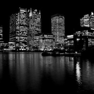 Canary Wharf at night.